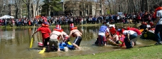 Students raced across Roth Pond for the annual Roth Regatta on April 26, 2013. Photo by Alexa Gorman