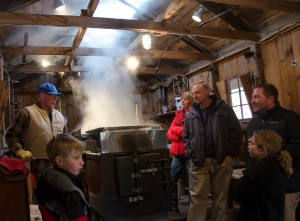 Ron Wenzel, of the Wenzel Sugar House, has been making maple syrup and participating in the Hebron Maple Festival for over twenty years. He and his wife, Joyce, make and sell the syrup as a hobby. When guests visit the sugar house, Ron takes them through the process of making syrup--from tapping the trees to finding the right pancake pairing. Photo by Alexa Gorman